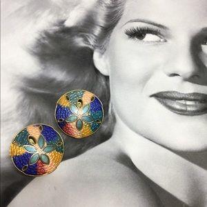 Vintage sand dollar cloisonné earrings